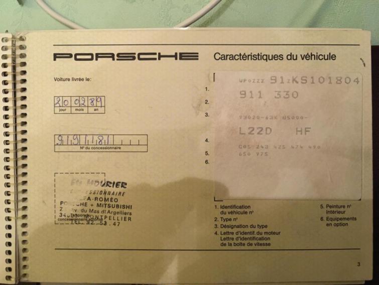 Porsche 911 carrera 3.2 litres - Origine Française
